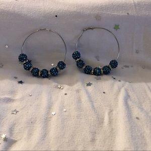 Jewelry - Silver Hoop Earrings (Blue)